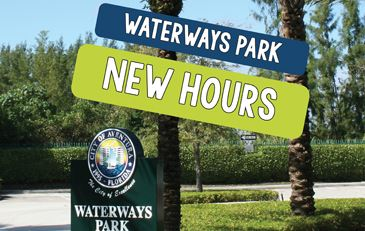 This image contains the Waterways Park entrance sign. This image contains the text Waterways Park Ne